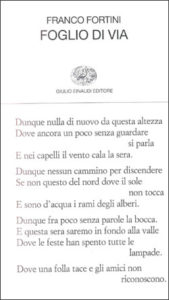 Copertina del libro Foglio di via e altri versi di Franco Fortini