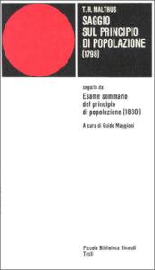 Copertina del libro Saggio sul principio di popolazione (1798) di Thomas Robert Malthus