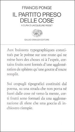 Copertina del libro Il partito preso delle cose di Francis Ponge