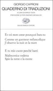 Copertina del libro Quaderno di traduzioni di Giorgio Caproni
