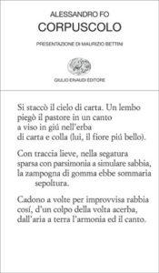 Copertina del libro Corpuscolo di Alessandro Fo