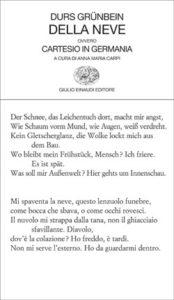 Copertina del libro Della neve di Durs Grünbein