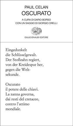 Copertina del libro Oscurato di Paul Celan
