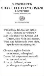 Copertina del libro Strofe per dopodomani di Durs Grünbein