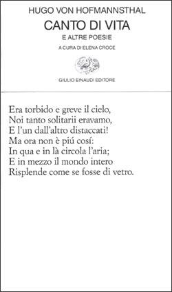 Copertina del libro Canto di vita e altre poesie di Hugo von Hofmannsthal