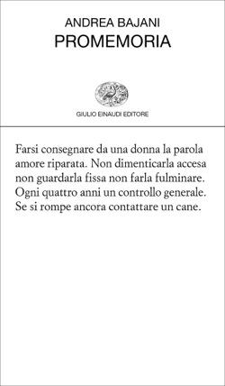 Copertina del libro Promemoria di Andrea Bajani